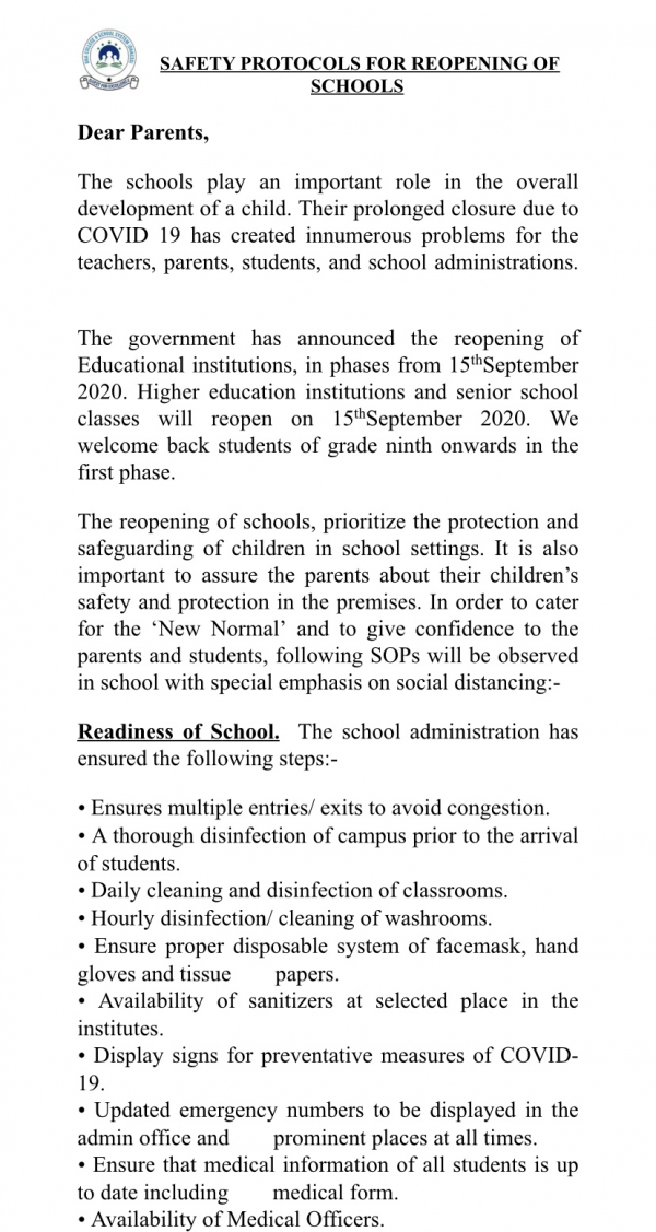 Safety Protocols for Reopening of Schools